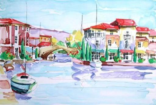 Olivier ZLATKU - Grabado - Port Grimaud