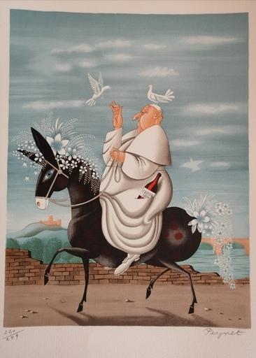 Raymond PEYNET - Grabado - La Mule du Pape