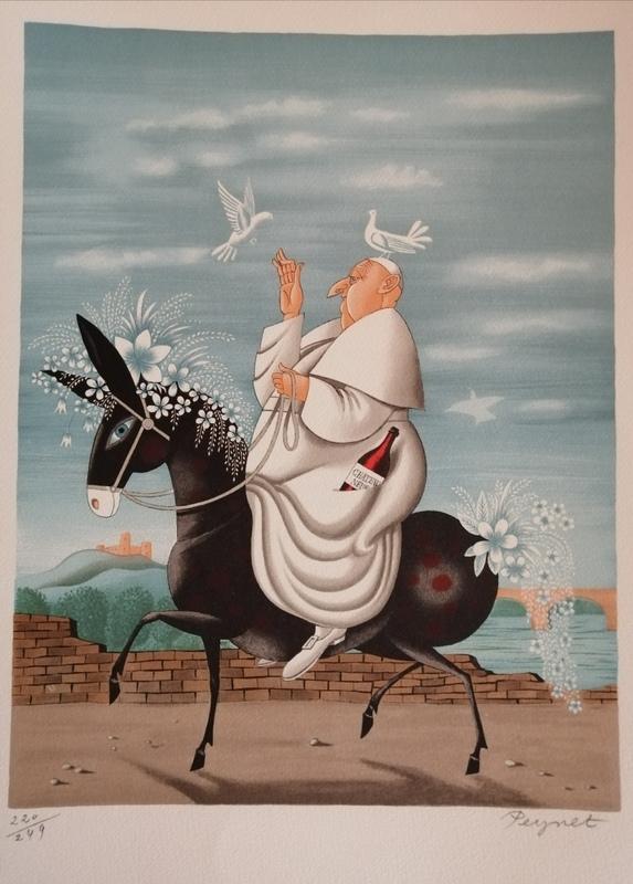 Raymond PEYNET - Estampe-Multiple - La Mule du Pape