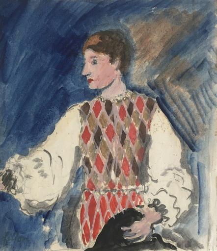 Arthur FILLON - Drawing-Watercolor - Arlequin