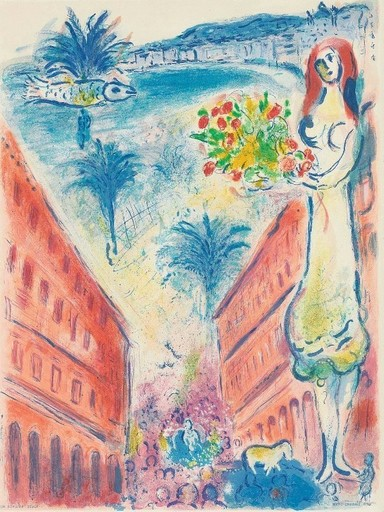 Marc CHAGALL - Estampe-Multiple - Avenue de la Victiore, Nice
