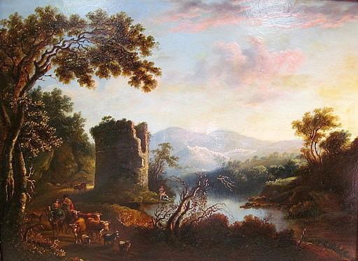 Giovanni Battista BUSIRI - Peinture - Italienische Landschaft mit Turm