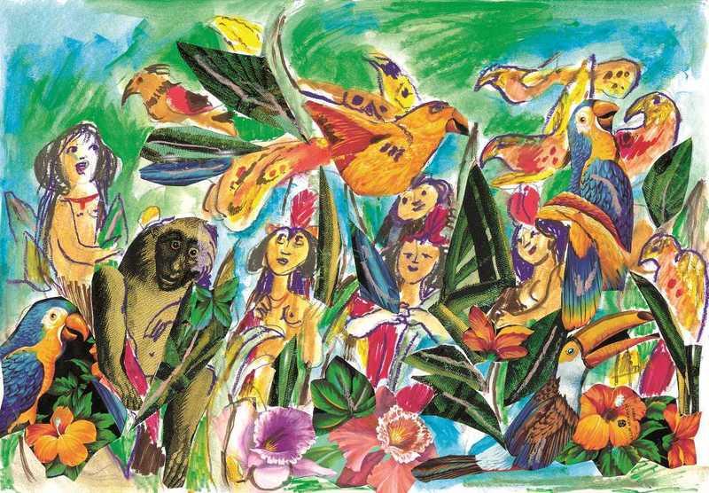 Emanuele LUZZATI - Drawing-Watercolor - L'isola felice