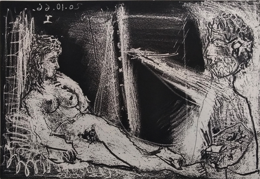 Pablo PICASSO - Grabado - Painter in Half-figure and Reclining Model