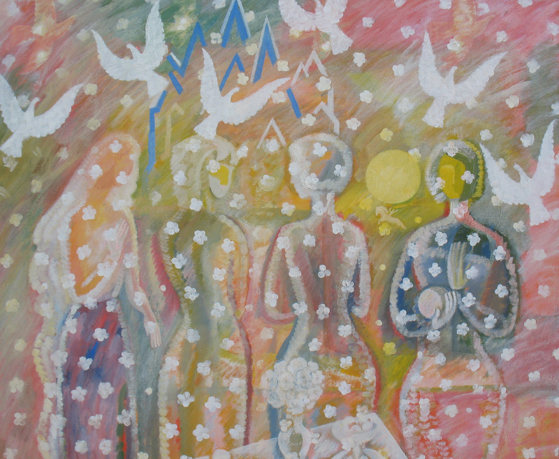 Sergey BORISOV - Gemälde - The gardens are blooming, seria Flowers and Love, abstract
