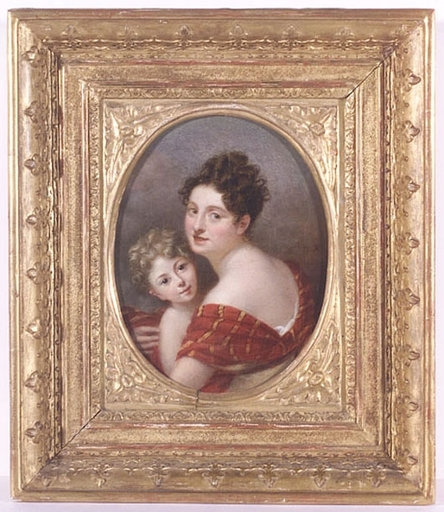 """Adèle ROMANY - Pintura - """"Portrait of a Lady with Child"""", early 19th Century"""