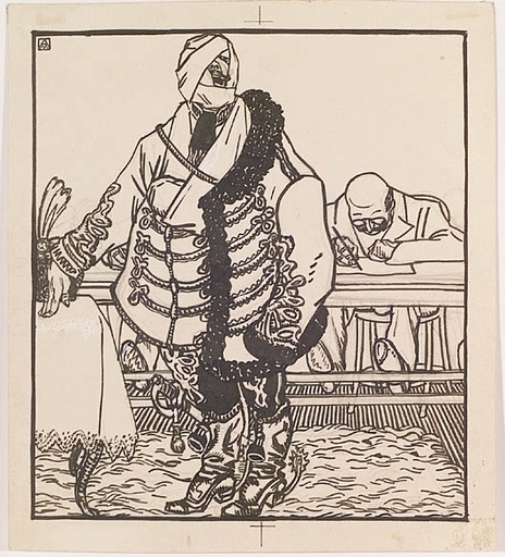 "Karl Alexander WILKE - Dibujo Acuarela - ""Cartoon"", 1910s"