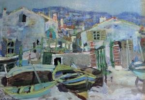 Eugène BABOULENE - Peinture - Maison de pêcheurs