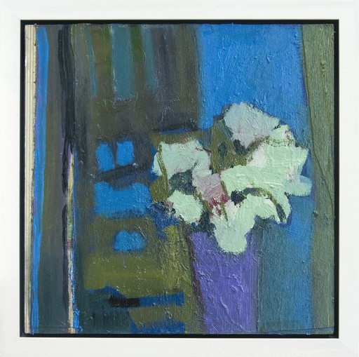 Jennifer HORNYAK - Peinture - Pink Flower with Green and Bronze