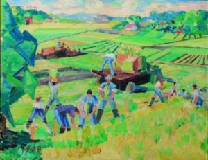 john Dana BASHIAN - Painting - Field Workers
