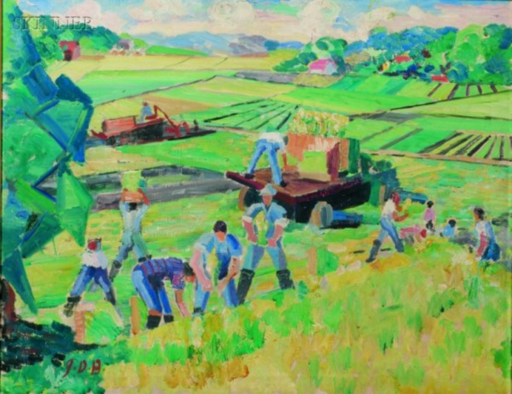 john Dana BASHIAN - Painting - Field Workers