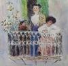 """Emil VON GERLICZY - Zeichnung Aquarell - """"On Balcony in Palermo"""" by Emil von Gerliczy"""