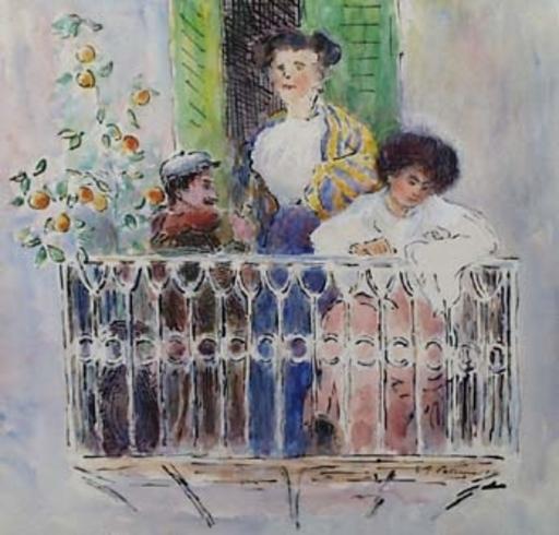 """Emil VON GERLICZY - Dessin-Aquarelle - """"On Balcony in Palermo"""" by Emil von Gerliczy"""