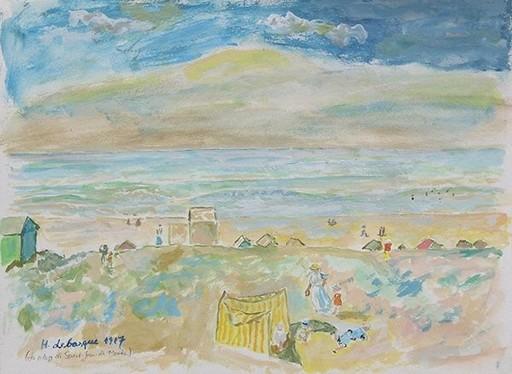 Henri Baptiste LEBASQUE - Dibujo Acuarela - La plage de Saint-Jean-de-Monts