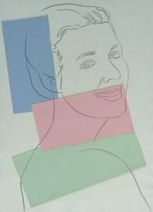 Andy WARHOL - Dessin-Aquarelle - Presumed Portrait of Antoine Grunn (Female Portrait) with bl