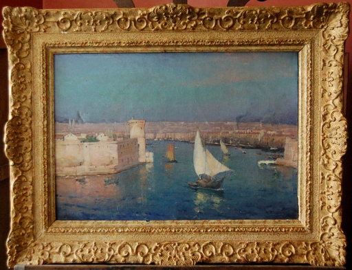 Horace RICHEBÉ - Painting - l'entrée du port de Marseille