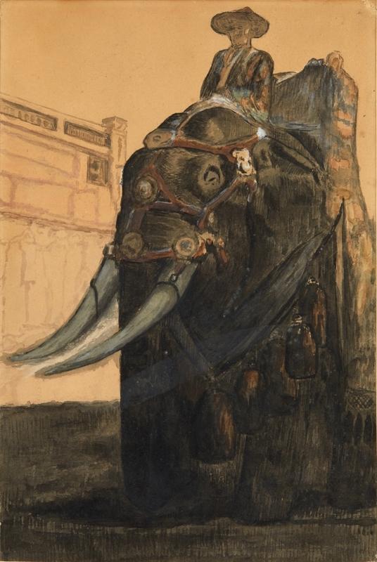 Paul JOUVE - Dessin-Aquarelle - Elephant carapaçonné et son mahout