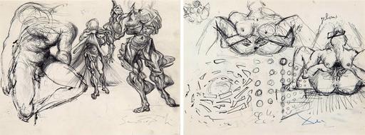 Salvador DALI - Drawing-Watercolor - Étude de figures masculines, trois érotiques et étude pour l