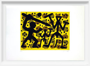 A.R. PENCK - Estampe-Multiple - Three Fighters on Yellow