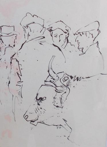 Felicia PACANOWSKA - Drawing-Watercolor - Le marché aux bestiaux