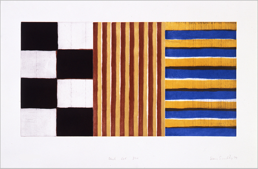 Sean SCULLY - Grabado - Black, Red, Blue