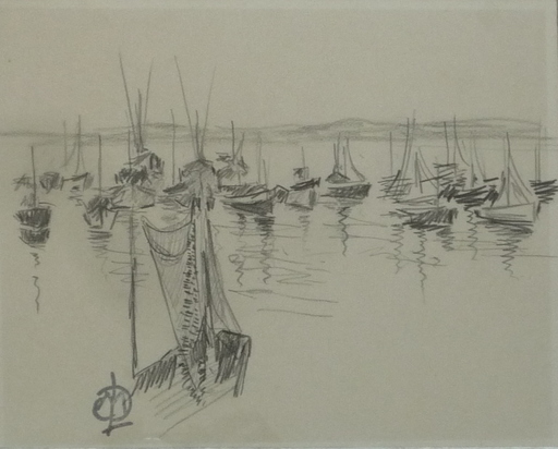 Henri MARTIN-LAMOTTE - Drawing-Watercolor - bateaux
