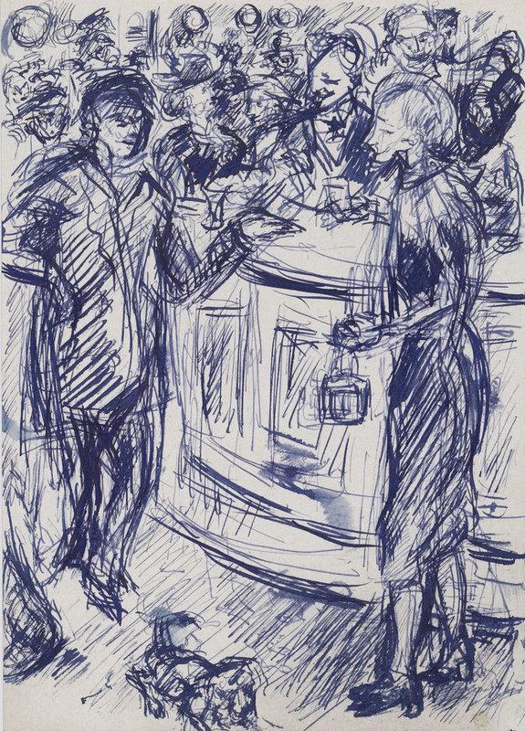 Robert LIEBKNECHT - Drawing-Watercolor - An der Theke