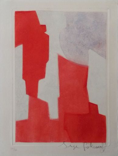 Serge POLIAKOFF - Print-Multiple - Composition rouge et bleue n°XX