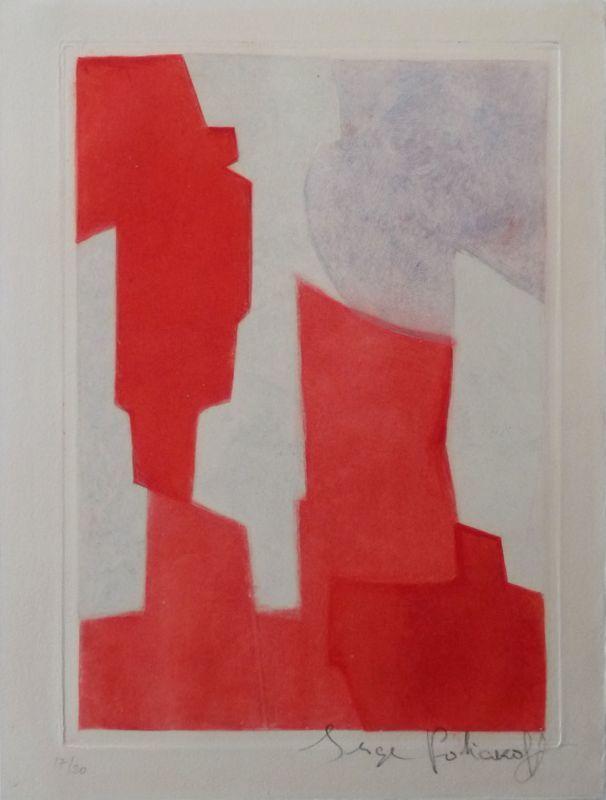 Serge POLIAKOFF - Print-Multiple - Composition rouge et bleue n°XX