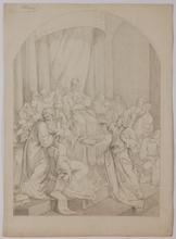 "Carl VON BLAAS - Drawing-Watercolor - ""Biblical Scene"", Nazarene Drawing, ca 1860"