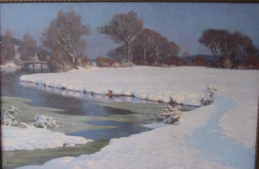 Paul WEIMANN - Gemälde - Verschneite schlesische Flußlandschaft mit Brücke