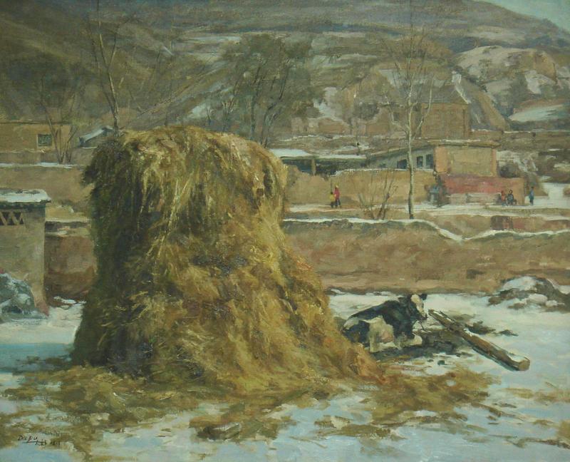 ZHANG Ai Min - Peinture - 小雪过后 Haystack and Cow