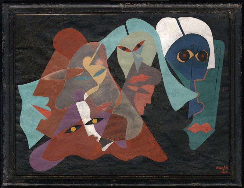 Léopold SURVAGE - Pittura - Cubisme - Masques antropomorphes