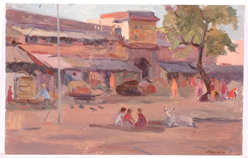 "Andrei Ilech POTAPENKO - Painting - ""Motif of India"", Oil Painting, 1953"