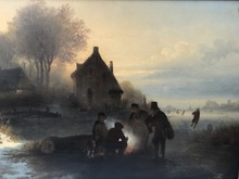 Remigius Adrianus VAN HAANEN - Painting - Frozen River w/Group Behind a Fire