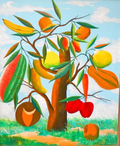 Fernand PIERRE - Painting - Magical fruit tree. Arbre magique aux fruits.