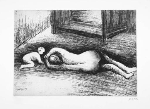 Henry MOORE - Druckgrafik-Multiple - Mother And Child XV