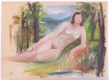 """Alexander SZEKELY - Painting - """"Reclining Female Nude"""", early 20th Century"""