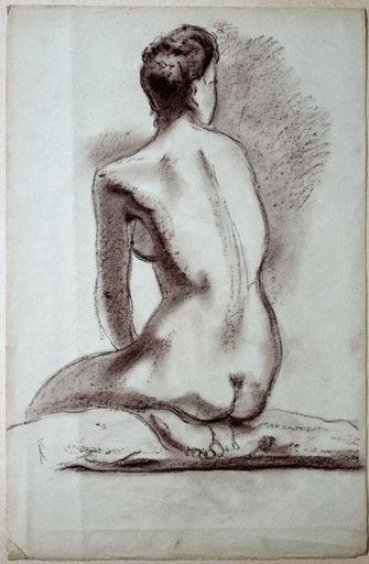 Bertrand MOGNIAT-DUCLOS - Disegno Acquarello - Nu assis de dos