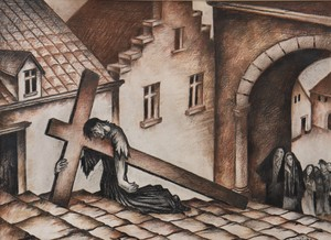 "Raymond DIERICKX - Drawing-Watercolor - ""CHEMIN DE CROIX MARRON"""