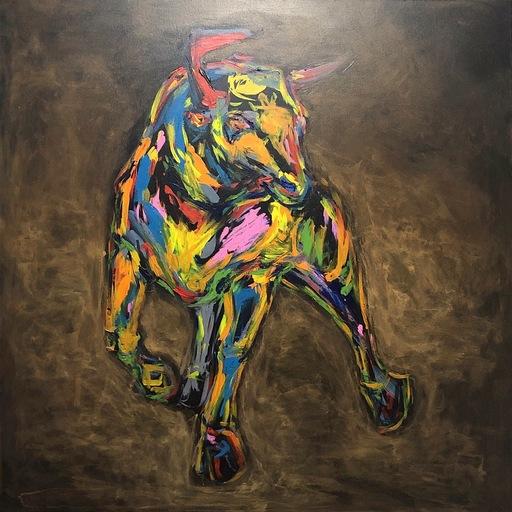 Nicole LEIDENFROST - Gemälde - Wallstreet Bull