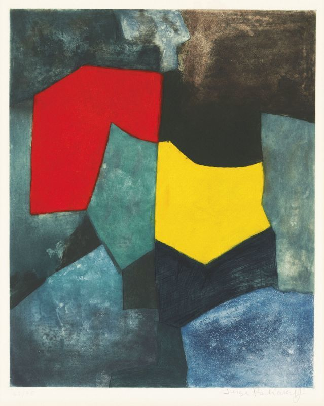Serge POLIAKOFF - Estampe-Multiple - Composition rouge, verte, jaune et bleue XVI