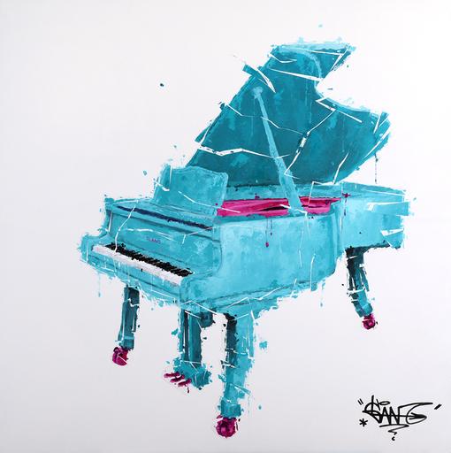 Sylvain LANG - Gemälde - Piano Turquoise Et Rose