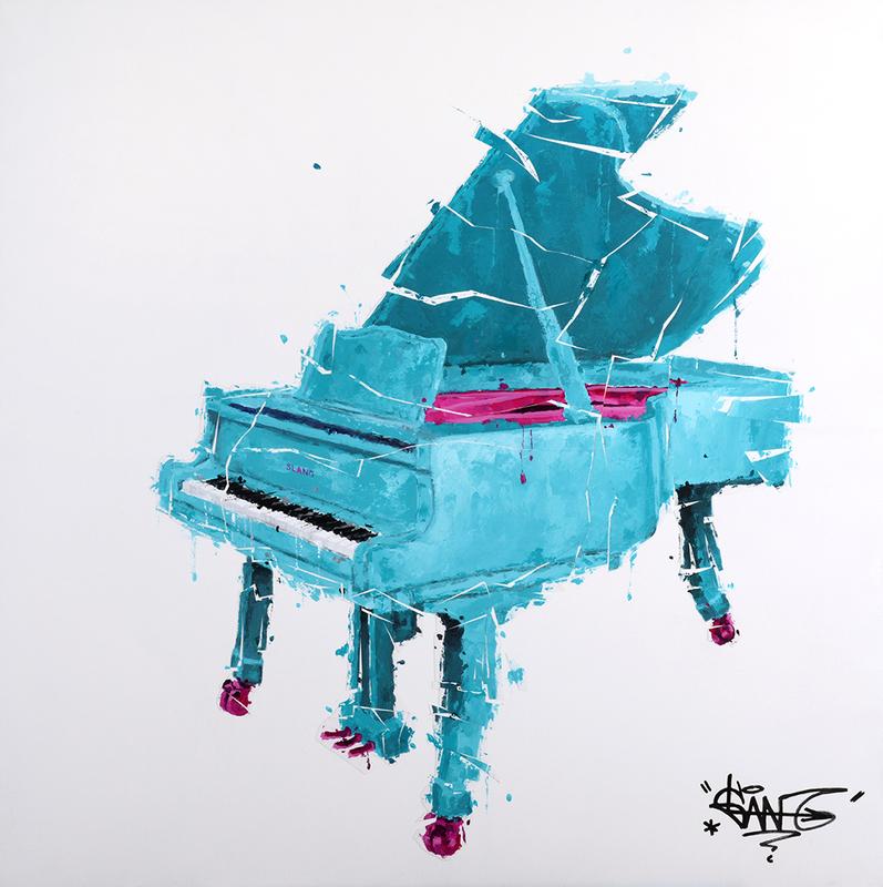 Sylvain LANG - Pintura - Piano Turquoise Et Rose