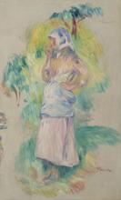 Pierre-Auguste RENOIR - Peinture - Jeune fille mangeant une pomme, Gabrielle Dufour - fragment