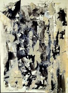 Claudio CINTOLI - Painting - Senza titolo collage superficie N.4 Abbiamo sbagliato strada