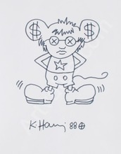 Keith HARING - Dessin-Aquarelle - Andy Mouse