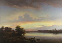 Robert KUMMER - Painting - Wildschweinherde in romantischer Landschaft