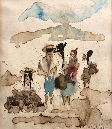 Urbain HUCHET - Dibujo Acuarela - Personnage
