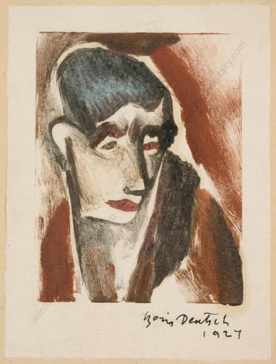"Boris DEUTSCH - Dessin-Aquarelle - ""Female portrait"", watercolor over drypoint"